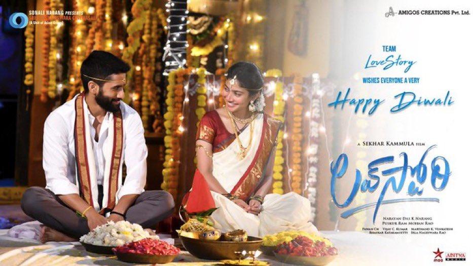 #Diwali poster launched for #Telugu film #LoveStory  Team sends wishes! @chay_akkineni @Sai_Pallavi92 @sekharkammula @SVCLLP #SekharKammula @AsianSuniel @pawanch19 @adityamusic  . #SidK #SiddharthKannan #HappyDiwali2020