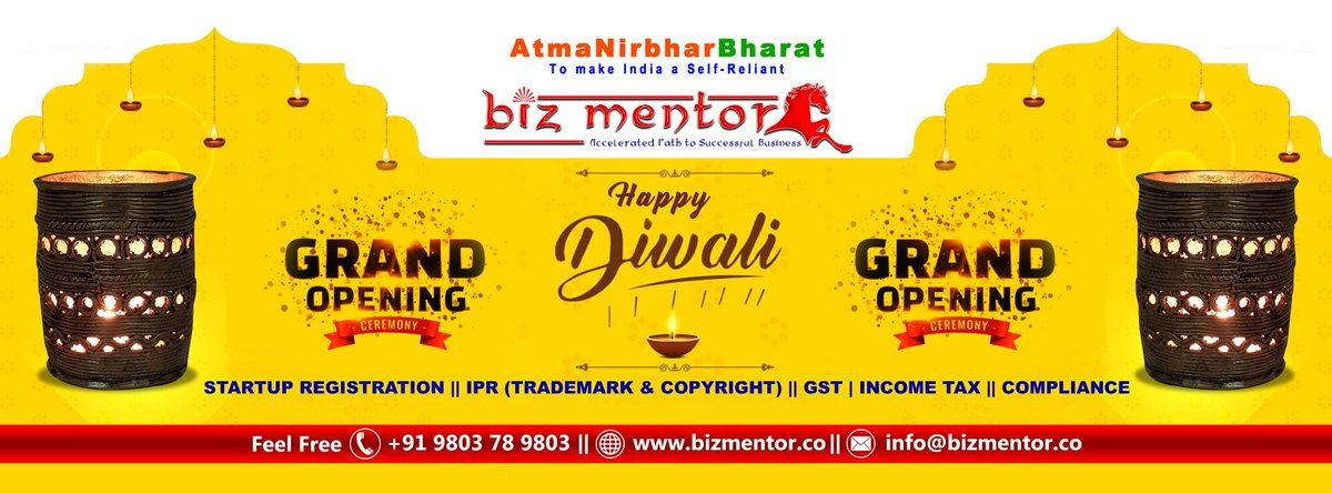 HappyDiwali  May the light of the diyas guide you on the way to happiness and success.  Happy Diwali to you and your family!   Biz Mentor   #HappyDussehra #BizMentor #AtmaNirbharBharat #StratupRegistrations #Trademark #GST #Incometax #Compliance https://t.co/Y6Dpy9tXsE