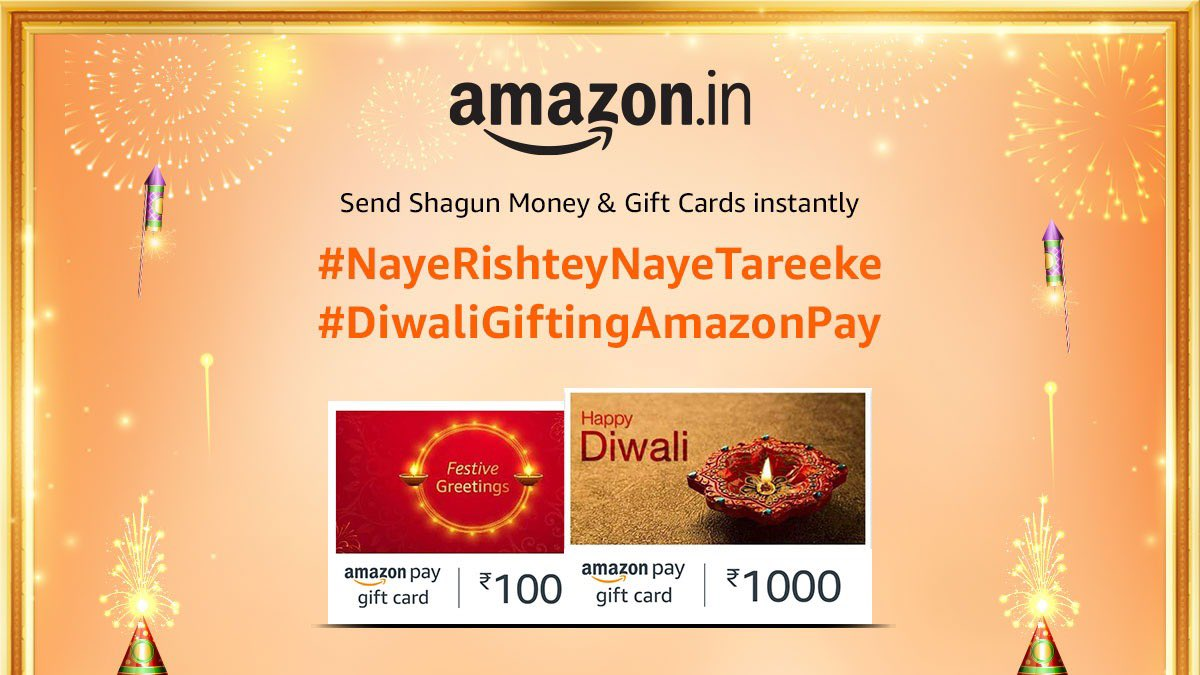 Online ya offline, our relationships are stronger than ever! Celebrate Diwali 2020 with a whole new way of gifting, with Amazon Pay eGift Cards. #NayeRishteyNayeTareeke
