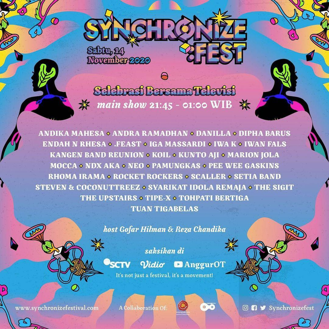 Nanti malam kami tampil di @SynchronizeFest. Bisa disaksikan di SCTV, Vidio, dan Youtube Anggur OT mulai pukul 21.45 WIB. Sampai bertemu nanti. https://t.co/Ko9oapEEpR