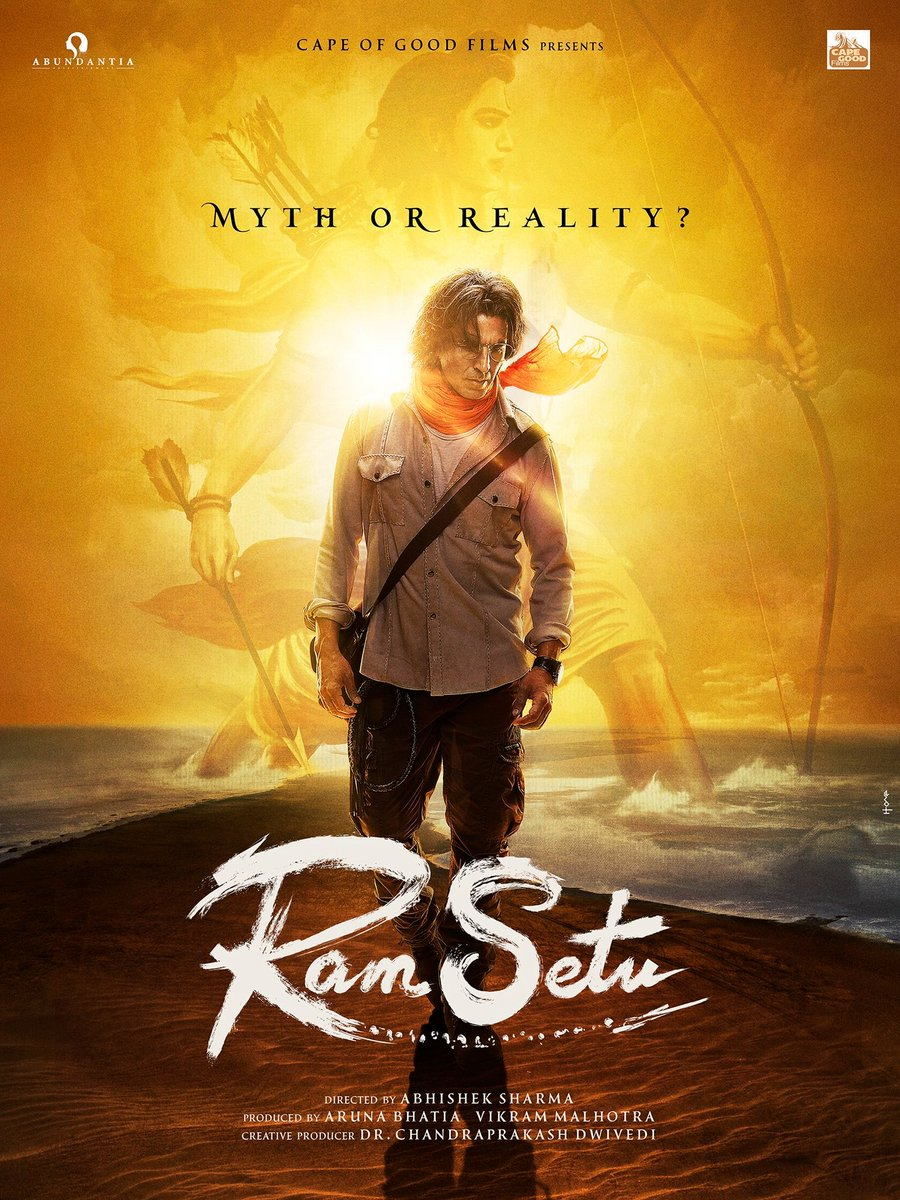 First Look Revealed! @akshaykumar  starring #RamSetu's posters are out! Direction of #AbhishekSharma Produced by #ArunaBhatia  @vikramix   . Creating a huge buzz already  @akshaykumar  ! All the best. . #SidK #SiddharthKannan #CapeOfGoodFilms  #DrChandraprakashDwivedi
