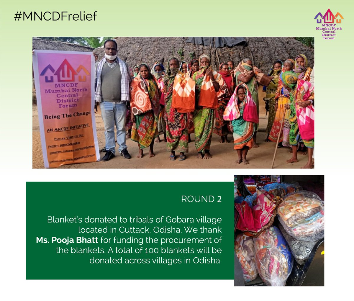 On account of Diwali, since the winters have set in Odisha, we initiated Round 2 of distribution of blankets through social worker @BastiaManas for Tribals/Adivasi's in multiple villages in Cuttack. We thank @PoojaB1972 empowering us to procure the blankets. #MNCDFrelief