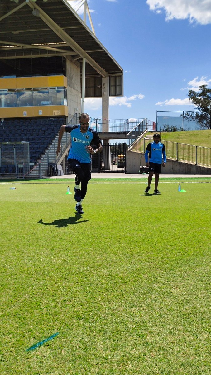 Two days off the plane and #TeamIndia had their first outdoor session today. A bit of 🏃 to get the body moving! #AUSIND