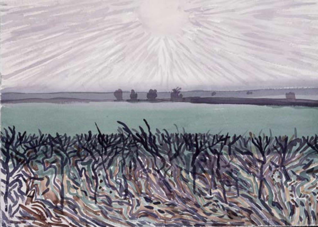 Daily Hockney — Grey Sun, East Yorkshire