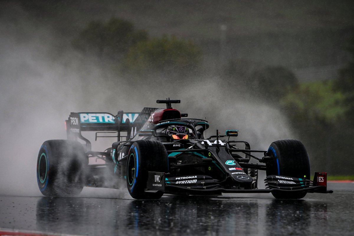Replying to @MercedesAMGF1: No grip, no time in FP3, but who cares, W11 in the rain. 🌧😍