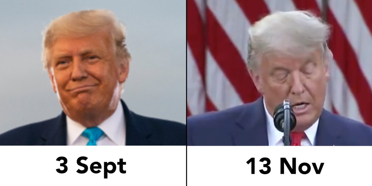 @realDonaldTrump So Donnie, can we talk about this new, sassy hair color of yours?  Were you visited by the ghosts of ALL the Christmases last night, or have you just aged ten years over the last week?