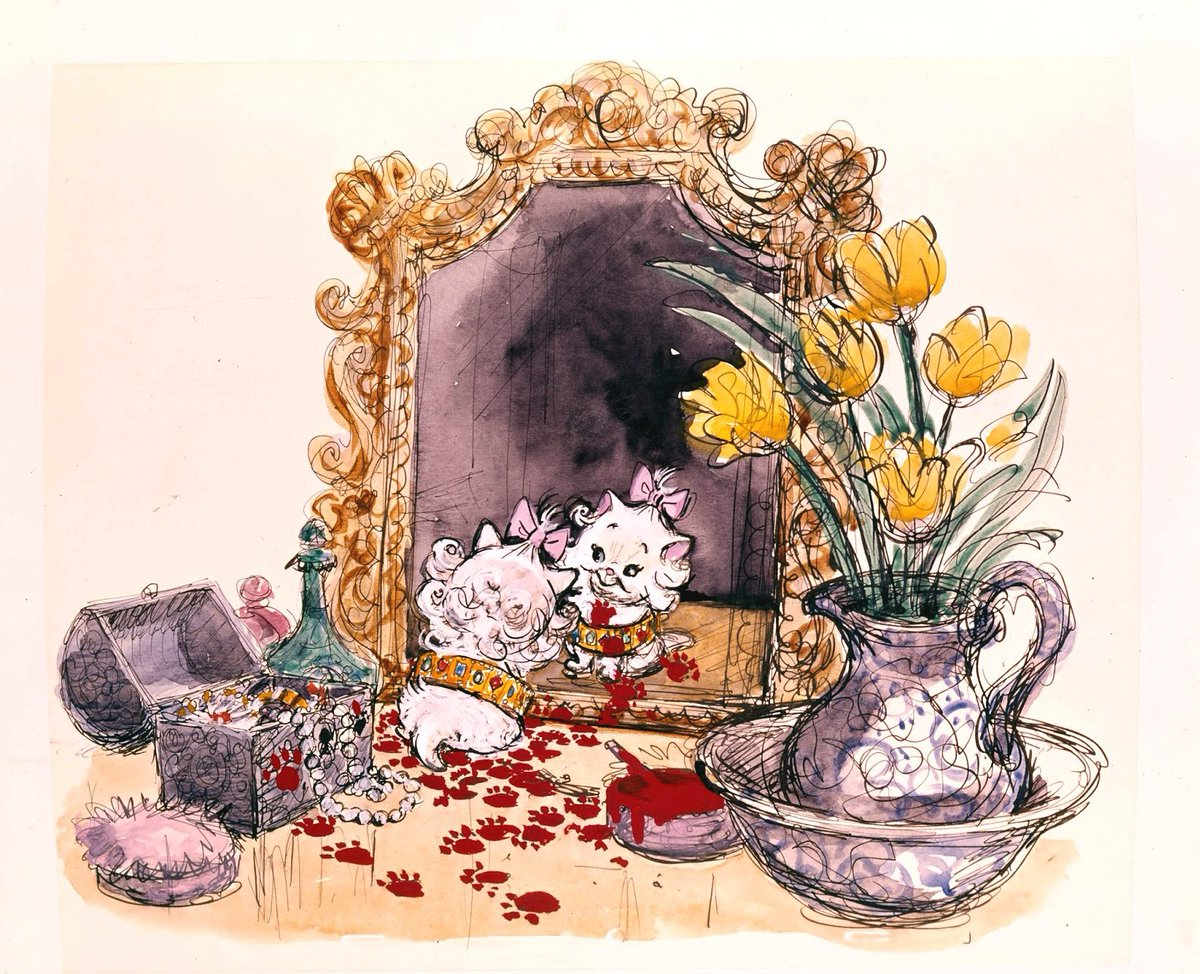 Concept art by Ken Anderson for The Aristocats (1970), dir. Wolfgang Reitherman, Walt Disney Productions