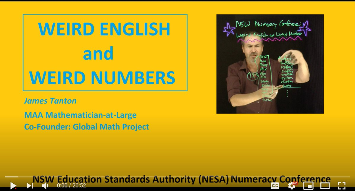 .@jamestanton's super power? Crafting stories that surprise you, make you curious, and then and only then *reveal* the underlying mathematics.  Watch this and discover how weird english numbers are... learn place value in the process!  #iteachmath #mathchat #globalmathproj