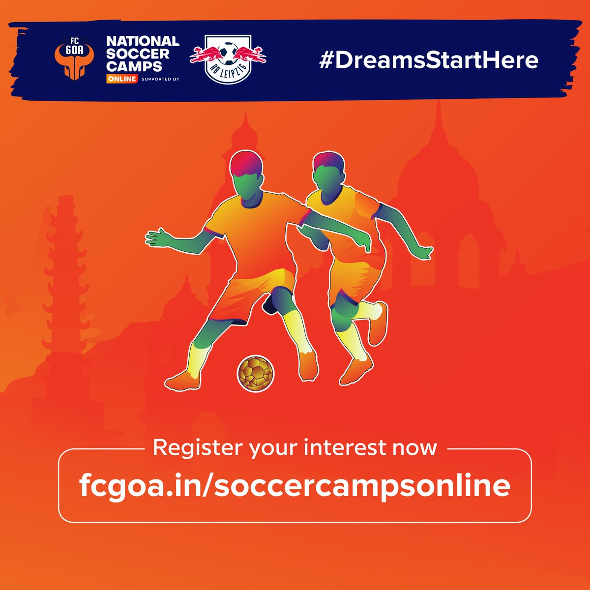The registrations for our online Soccer Camps, supported by @RBLeipzig_EN, is now live! 💪🏻  Get trained by the top coaches from India & Germany and take that next step in realising your dream! 🤩  So hurry, register now at   #DreamsStartHere #RiseAgain