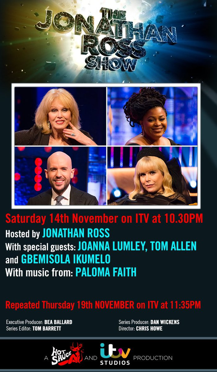 Super excited to be on The Jonathan Ross Show tonight at 10.30 on ITV with such a fun line up of lovely people. Enjoy!!!