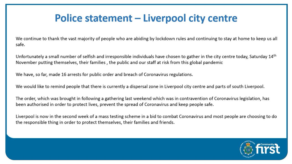 Please read our full statement in relation to people gathering in #Liverpool city centre today: