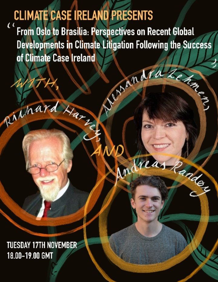 Join us Tues 17th Nov at 6pm for the first in our winter webinar series- a discussion on recent developments in global climate litigation, from Norway to Brazil!   We'll be joined by the People v Arctic Oil and the Brazilian Climate Funds case.   Register: