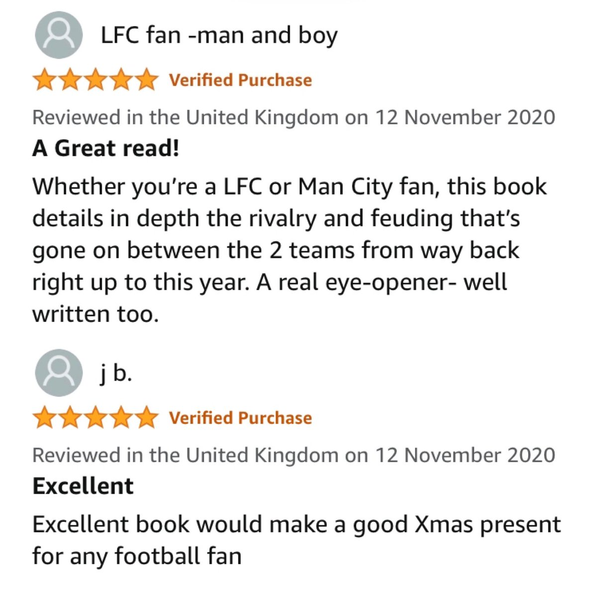 Five-star ratings for #FineMargins from Amazon customers this week. Thanks to all who bought copies and reviewed it #MCFC #LFC #MCILIV