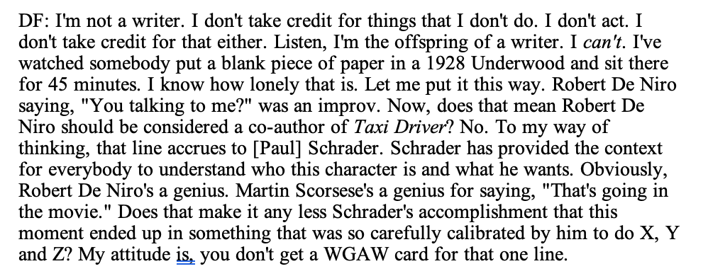 When I interviewed David Fincher about Mank for @vulture and @nymag, I asked him why he never takes a writing credit. We didn't have room for his full answer, but it's illuminating, and I'm happy to share it here.