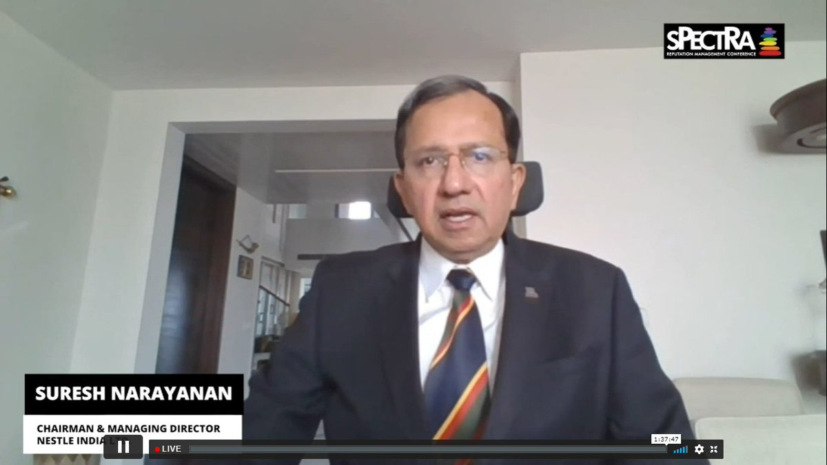 """""""We are observing a manifestation of a situation that is confusing, we are up against a pandemic we are not able to 1) comprehend 2) Fully absorb nor able to 3) react to""""- Suresh Narayanan @NestleIndia #RTSPECTRA #pandemic #MaskUp"""