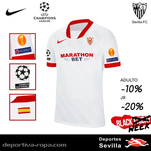 📢¡Ya disponible en Deportes Sevilla la Camiseta Oficial 2020-21 UEFA Champions League del Sevilla FC!💫⚽🌟¡Pero eso no es todo!♥️🖤¡Comprala en nuestra BLACK WEEK y ahorra un 10% Adulto y un 20% en JR!☑️😀 #WeareSevilla #vamosmiSevilla https://t.co/zFwVnlimGD