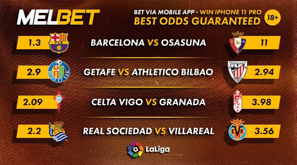 La Liga Matchday 11 fixtures ⚽  Bet on La Liga matches via the mobile app to stand a chance to win iPhone 11 Pro and Airpods for 10 lucky winners every month.    Win here 👉  https://t.co/c4oSsmjRvM…...  #MelbetTuaYie https://t.co/jtqjNjLd4U