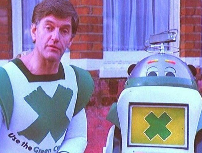 Basically George Lucas was over here, chanced upon a Green Cross Code advert while watching Bless This House, and thought right, well have him, and that little robots just given me an idea..
