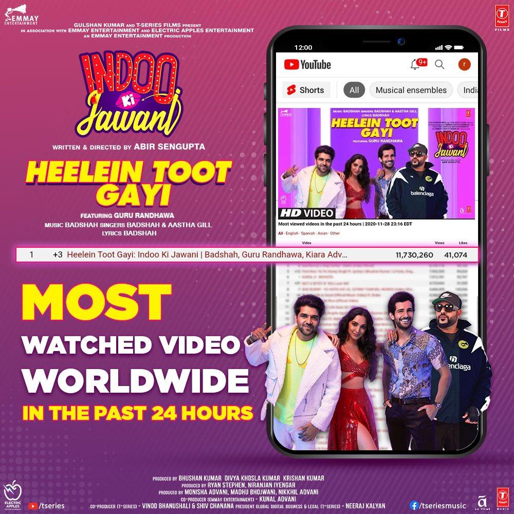 #HeeleinTootGayi is breaking heels and topping charts around the world. It is the #1 most watched video worldwide in the past 24 hours. Tune in now -   @AdityaSeal_ #MallikaDua @AbirSenguptaa @Its_Badshah @GillAastha @GuruOfficial @adityadevmusic