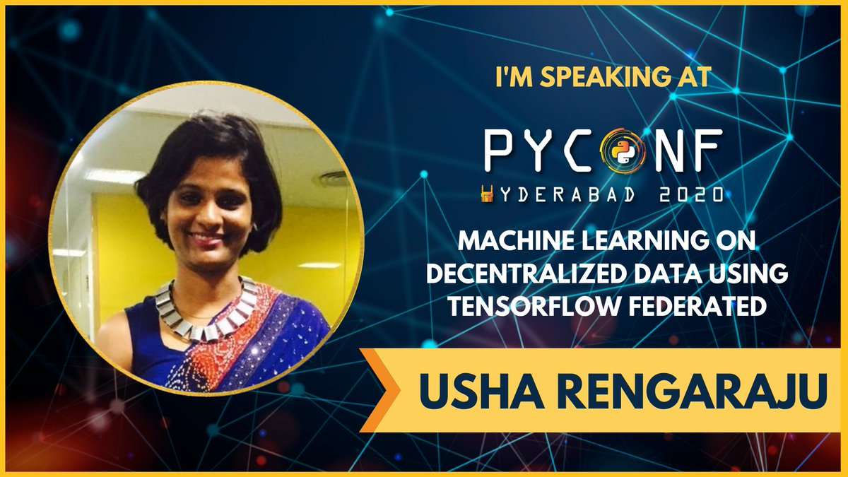 🌟 ✨I am all excited to speak at PyConf Hyderabad with one of the most interesting topic Machine Learning on decentralised data using TensorFlow Federated .🌟 ✨ #wids #wimlds #kaggle @pyconfhyd  Registration Link