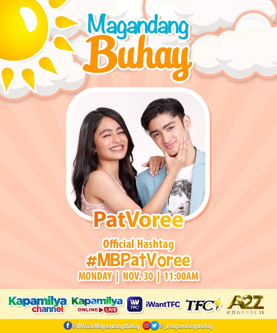 🥰 Salubungin ang Monday morning with intense kilig-ity feels kasama ang PatVoree (@patrickquiroz_ @vivoree) at ang mga Momshie!   11AM sa Magandang Buhay!  #MBPatVoree  PATVOREE MB BUKAS NA