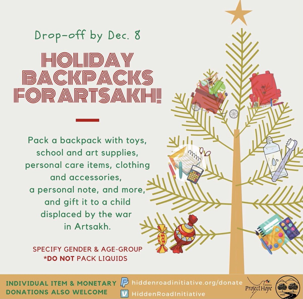 """Initiated by UCLA and UC Berkeley HRI chapters, """"Holiday Backpacks for Artsakh,"""" aims to bring holiday cheer to the children displaced by the war in Artsakh.  @HiddenRoadIn"""