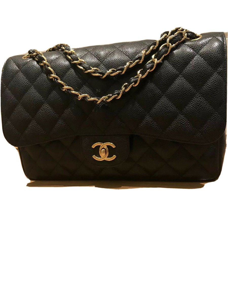 Chanel large Classic Flap Caviar Black Gold H/w  #chanel