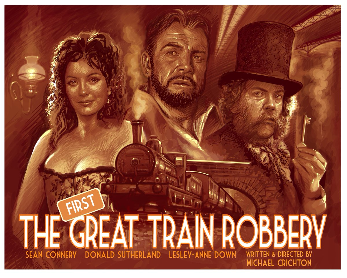 The First Great Train Robbery - AKA The Great Train Robbery, was a 1978 film that starred Sean Connery and Donald Sutherland (also busy that year making Animal House and Invasion of the Body Santchers). #Digitaldrawing on #Proreate #movie #SeanConnery #DonaldSutherland #Victorian
