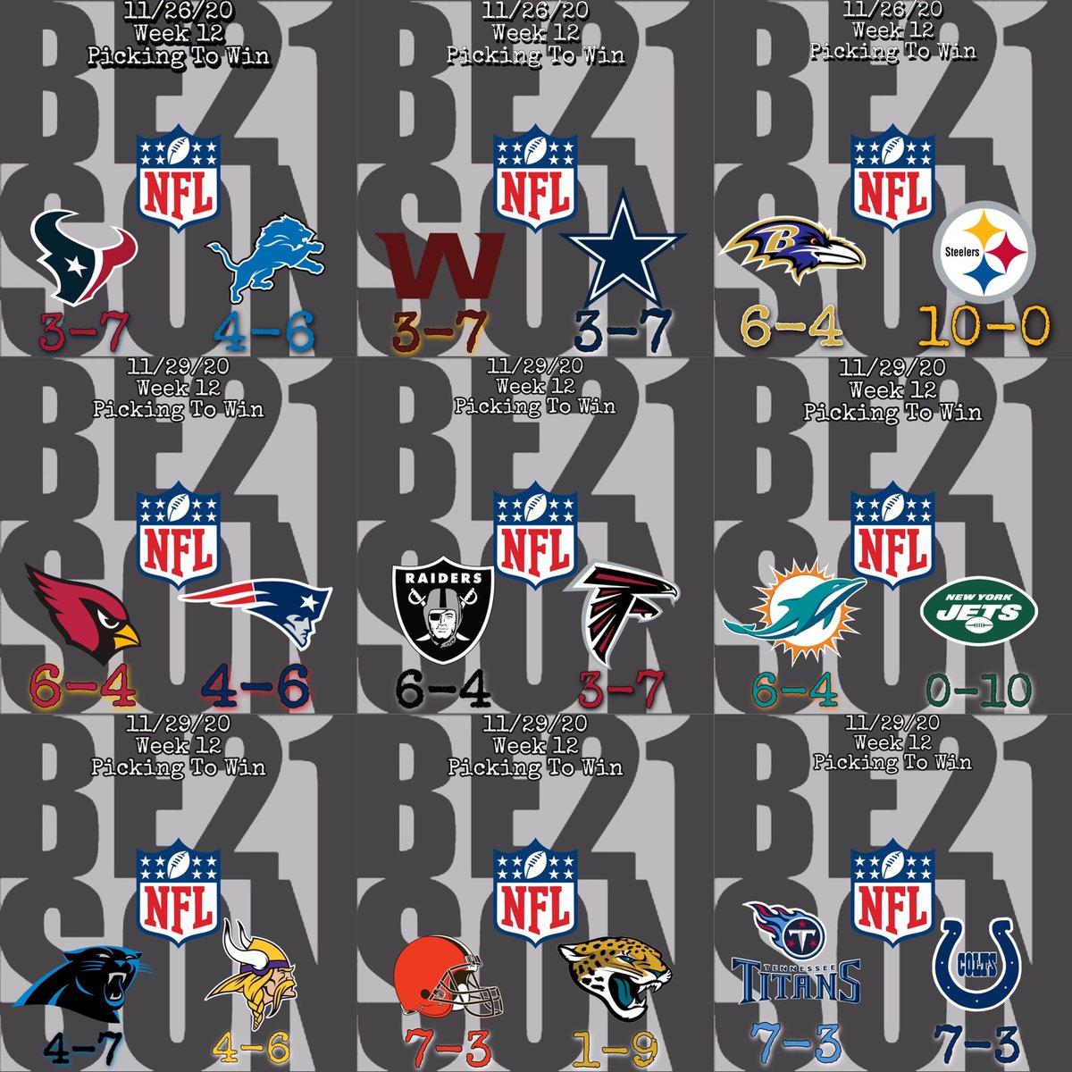 11/29/20 #NFL Week 12 Picks   #GoPats  #RaiderNation  #FinsUp  #Skol #Browns #Titans  #TogetherBlue  #BillsMafia  #RamsHouse  #Saints  #ChiefsKingdom  #GoPackGo  #Seahawks  #HereWeGo