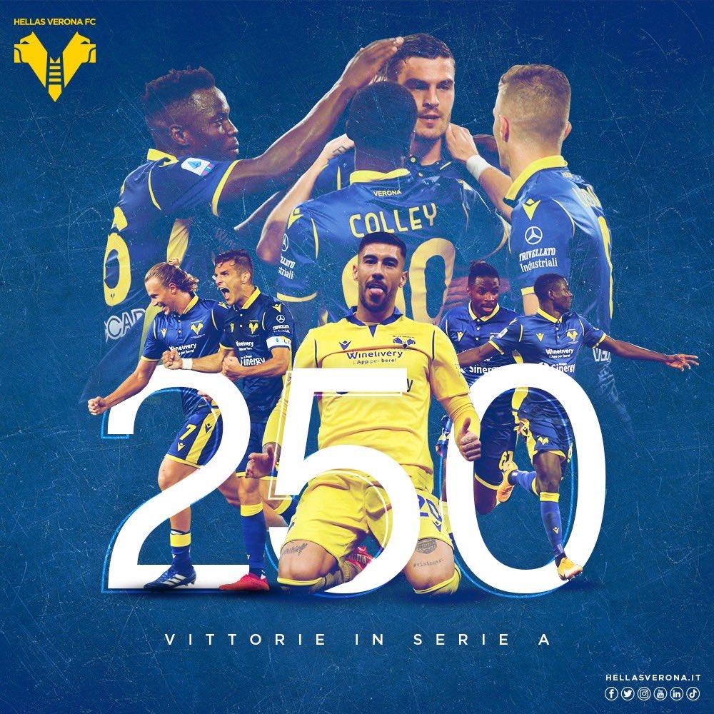 DUECENTOCINQUANTA VITTORIE IN SERIE A. La squadra di Verona dal 1903 🇸🇪 #HVFC