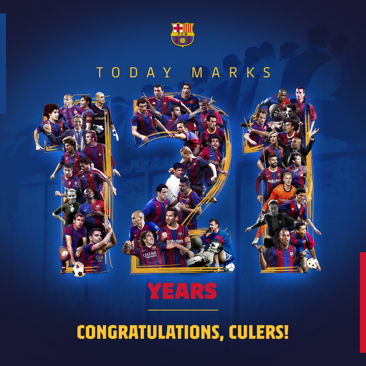 Replying to @FCBarcelona: 🎂 1️⃣2️⃣1️⃣ years of history, 1️⃣2️⃣1️⃣ years being #Culers 💙❤️