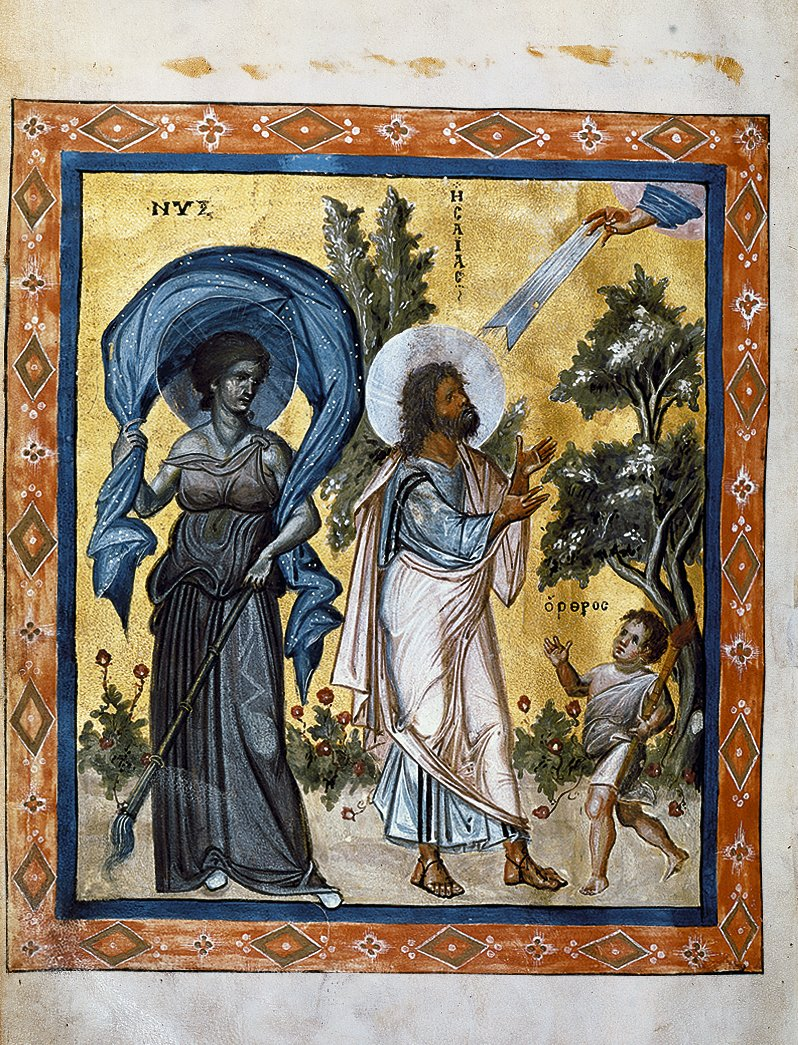 A masterpiece of the Macedonian Renaissance, the 10th c. Paris Psalter in the Bibliothèque Nationale, Paris, features a miniature showing the prophet Isaiah at prayer between Nyx, Greek goddess of night, and Orthros, day. #MuseumsUnlocked #night