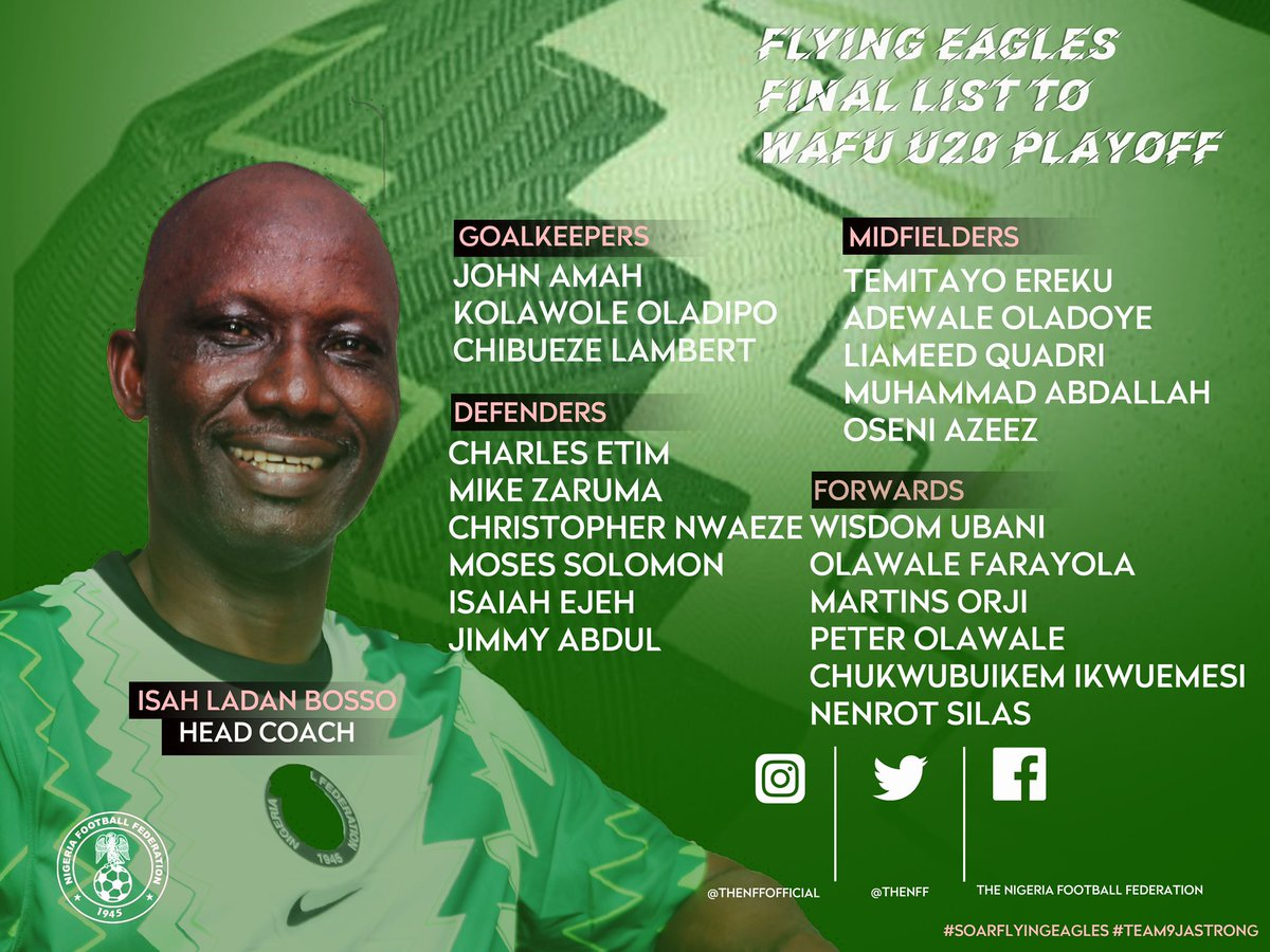 Bosso names 20 for WAFU U20 Cup of Nations. #SoarFlyingEagles #Team9jaStrong https://t.co/8TZv4A4sRx