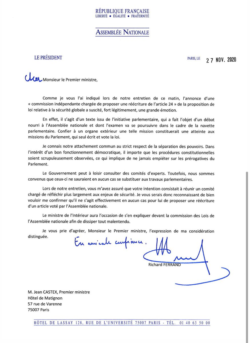La lettre de ⁦@RichardFerrand⁩ à ⁦@JeanCASTEX⁩ ... Crise institutionnelle. https://t.co/h3RMxOcFdI