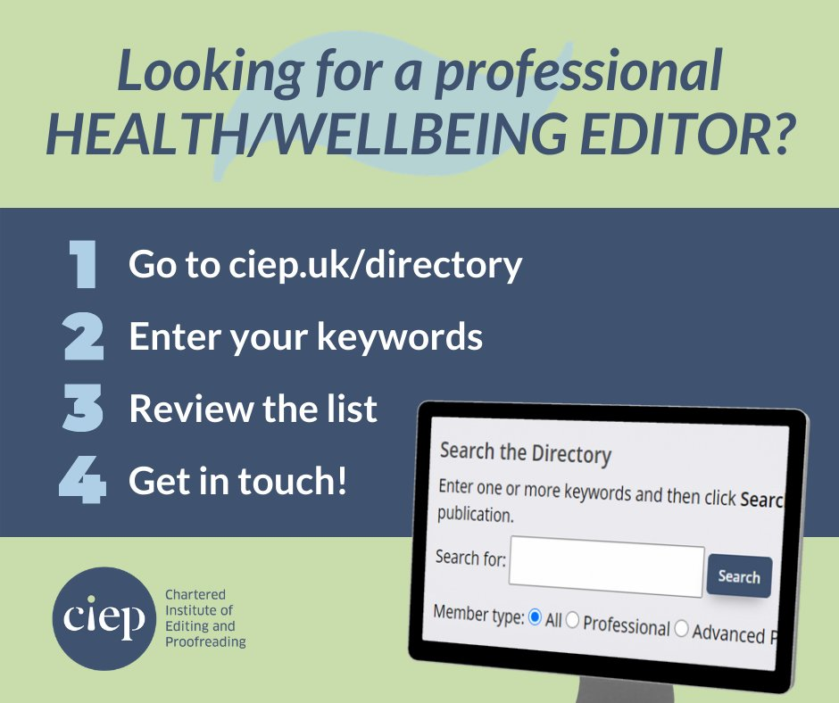 Looking for a professional heath/wellbeing editor? The CIEPs Directory of Editorial Services lists members with proven qualifications, substantial experience, and good client references from clients. Start your search here. j.mp/3kJxHUG