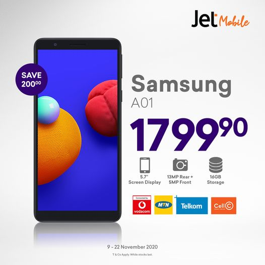 Today with Jet store get the Samsung A01 Core on Vodacom, Telkom, MTN or Cell C prepaid for 1799.90. Ts&Cs apply For Great Savings and updated Black Friday Specials,  View here > https://t.co/uEdidTGlPh  #DealDay #JetMobile #Blackfriday #amananiaphansi https://t.co/pEGKcIB3kp