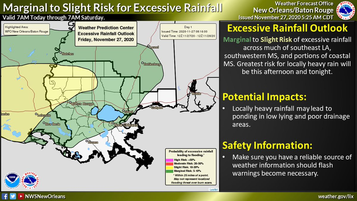 ⛈ With multiple rounds of rain expected locally heavy rainfall is still a concern. 1st round will be later today & tonight; & the next round could be overnight Saturday & through Sunday. An additional 2 to 4 inches with locally higher amounts is expected. #LAwx #MSwx https://t.co/ksHWjRUWBo