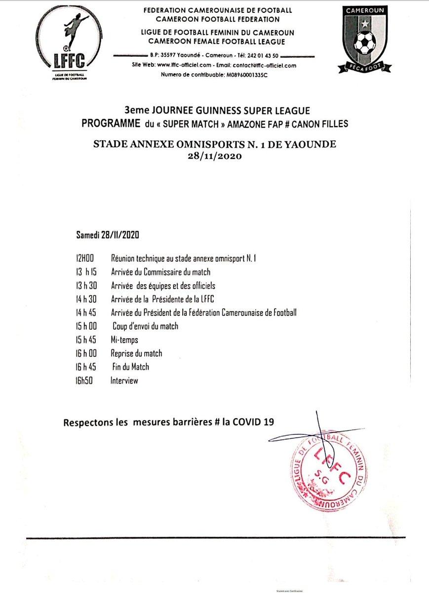 #GUINNESSSUPERLEAGUE #TOPMATCH  Programme du #TopMatch   3eme journée  #AMAZONEFAP 🆚 #CANONFILLES  📆 28 Novembre 2020 ⏲️ 15H00 🥅 Annexe 1 Stade Omnisports de Yaoundé  #LiveOnCanal2