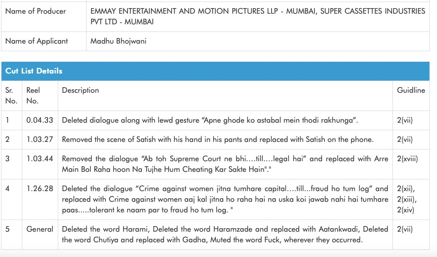"""Indian Censor Board has replaced """"Haramzade"""" word with """"Aatankwadi"""", and removed a dialogue that talks about """"Crime against women in Delhi"""" in @advani_kiara's #IndooKiJawani... CBFC continues the ridiculous censorship of films! #HappensInBollywood @EmmayEntertain"""
