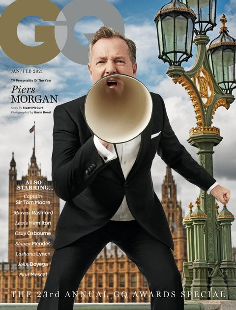 Honoured to have been named @BritishGQ's TV Personality of the Year at their #MenoftheYearAwards last night, for 'being the most severe voice of scrutiny when his country needs it most.'  And to have my first GQ cover, too. It's my favourite magazine so means a lot. 👍
