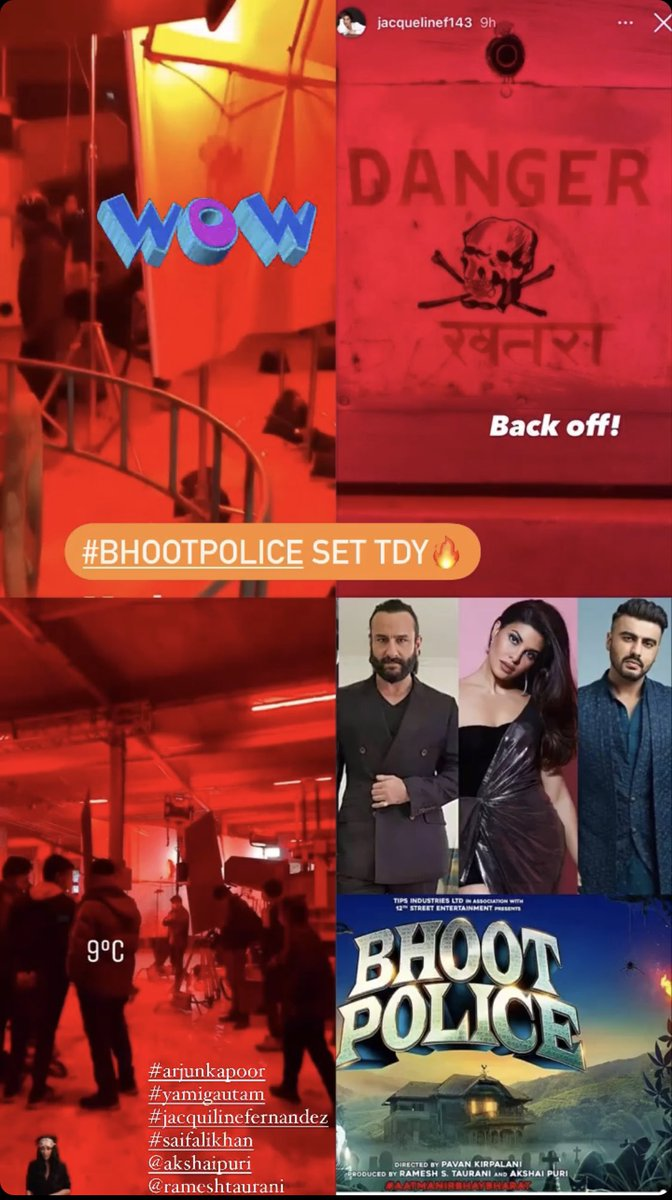 Why s #BhootPolice set lookin so scary? 👻😀 Wishing Team all the best 💥 @arjunk26 @yamigautam @Asli_Jacqueline #SaifAliKhan  @RameshTaurani @PuriAkshai  Shooting at 9 degrees 🥶 guess team s working soo hard 💯