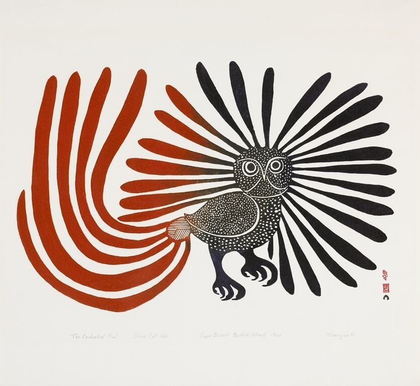"""I am an owl, and I am a happy owl. I like to make people happy and everything happy. I am the light of happiness and I am a dancing owl""  Kenojuak Ashevak, pioneering Inuk artist #womensart #FridayFeeling"