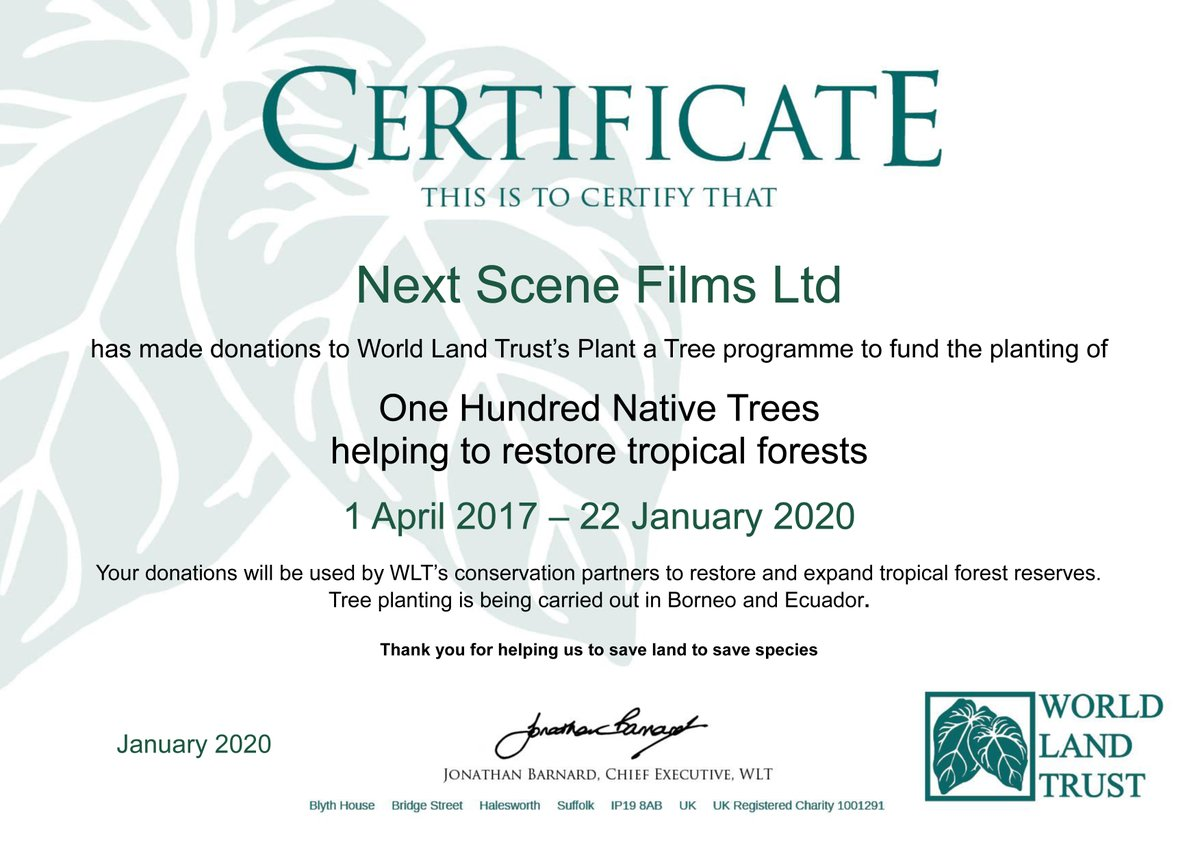 At Next Scene Films we plant trees via the Worldland Trust charity. For each film project we are hired to do we plant one tree. These trees are planted by the Worldland Trust. See more at https://t.co/fc8nE1fUU2.    #PlantTrees #PlantATree #Film #Productions #Business https://t.co/qRnazkj43H