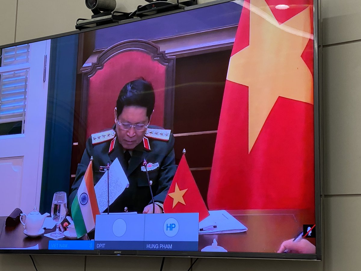 Had a fruitful interaction with my Vietnamese counterpart General Ngo Xuan Lich during a virtual bilateral meeting.    We discussed ways to further the Comprehensive Strategic Partnership & friendship between both the countries. Our defence cooperation have expanded considerably.