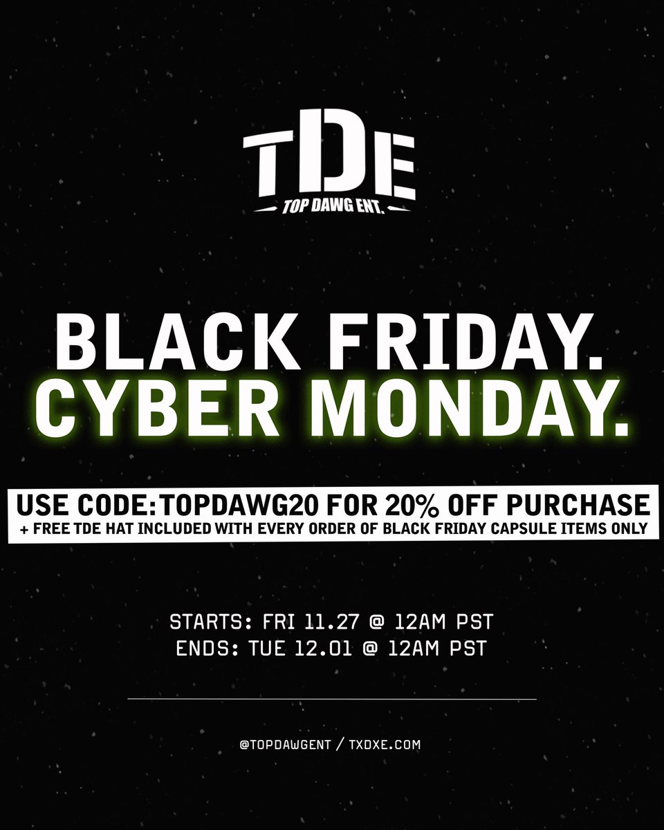 "NEW ITEMS: BLACK FRIDAY CAPSULE📍  EVERYTHING ON SALE! (20% OFF) + FREE HAT W/ PURCHASE.  USE CODE ""TOPDAWG20"" 🛒  BLACK FRIDAY - CYBER MONDAY   #TDE"