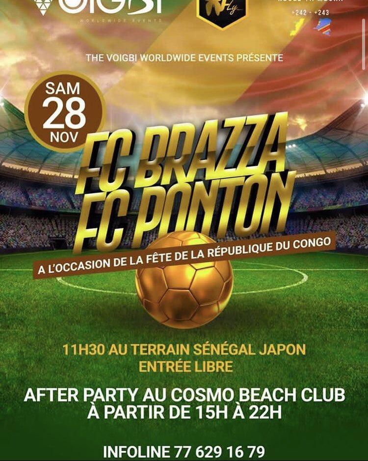 4. FC Brazza vs FC Ponton à Dakar 🇸🇳 demain au terrain Sénégal Japon à 11h30 - entrée libre. 😚 Il y aura un afterparty au Cosmo Beach Club de 15h à 22h.  Si vous habitez à Dakar, n'hésitez pas à y faire un tour.  PS : Attention aux gestes barrières 😁 Y'a le COVID19 https://t.co/LT9XvhQca6