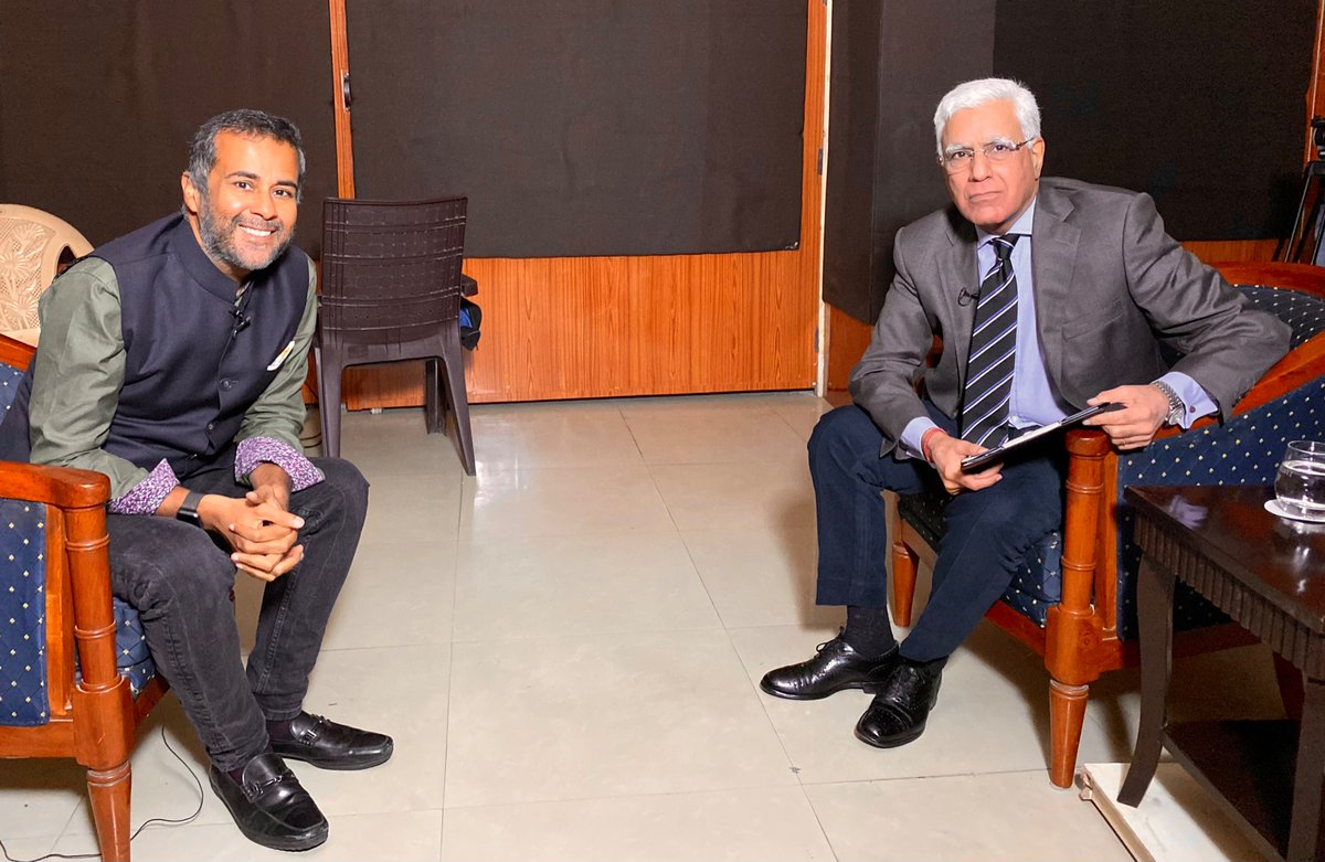 Did a socially distant interview with  Karan Thapar for @thewire_in  (yes THAT wire and yes it was eventful!). Nobody held back their punches! We may not always agree with people but we must still talk! Goes up around 7pm today. Stay tuned!