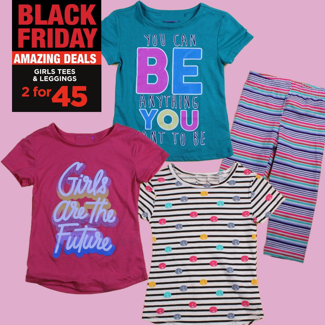 Girls Black Friday Fun 👸👩 Girls Tees and Leggings 2 for 45.00  Available in sizes 2-8yrs at selected stores. #choiceclothing #wearchoice #blackfriday