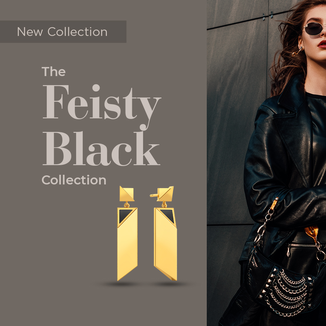 Introducing #NewCollection - The Feisty Black Collection!  Inspired by leather trench coats, here's a range in gold with Black enamel for all your work looks >   #Melorra #FridayRefresh #FeistyBlackCollection #NewCollection #AW20 #TrendInspired #ShopOnline