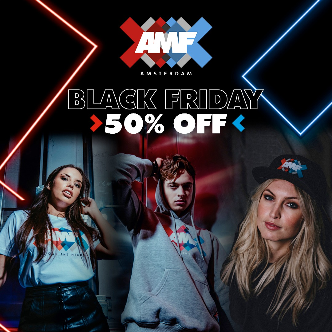 🔥 BLACK FRIDAY SALE 🔥  ❌50% discount on all AMF fashion*(€25 minimum spend) ❌All buyers with €25 minimum spend in running to win 2 AMF2021 tickets  ❌Sale until 30 Nov 23:59H CET   Shop now:   *Discount not valid on items that are already on sale